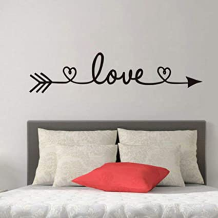 BUCKOO Love Arrow Wall Stickers Romantic Inspirational Quote Bedroom Decals  Vinyl Removable Wallpaper Home Decoration Living Room Wall Decal