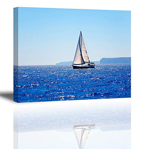(Canvas Wall Art for Bedroom, PIY Blue Sea Sailboat Picture, Modern Prints Artwork Decor (1