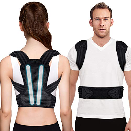 Posture Corrector for Men and Women, Kungfuren Upgrade Adjustable and Breathable Back Brace with 2 Removable Rails for Improve Posture and Provide Lumbar Support, Lower Back Neck Shoulder Pain Relief