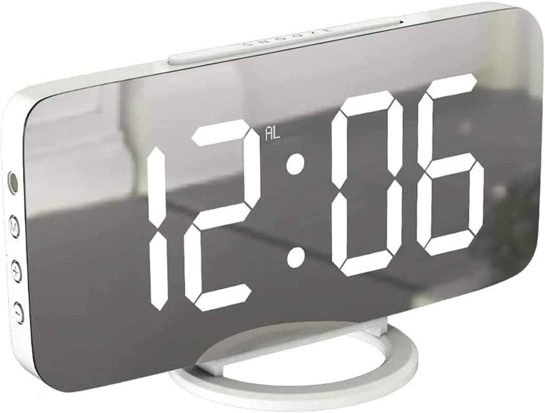 Digital Alarm Clock, Large Mirrored LED Display Clock, Modern Desk Clock with USB Charger Ports, Auto Dimmer Mode, Snooze Function, 3 Levels Brightness for Bedroom, Office, Home Decor, White