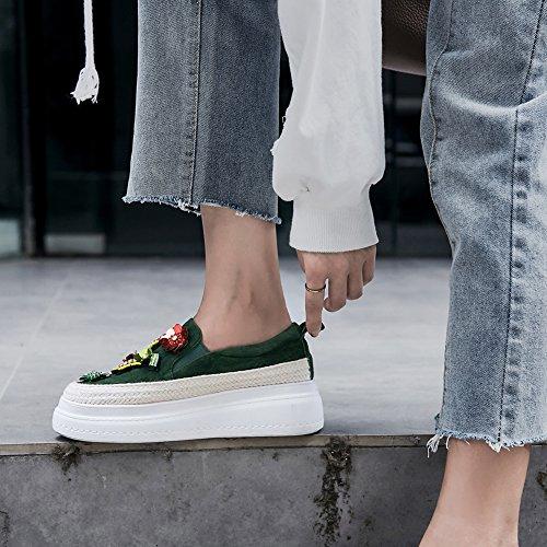 Strass Femme Double Bande Broderie 36 Semelles De WSXY À KJJDE Green Chaussures Élastique Baskets Plateformes Q1611 1gq1p8xwf