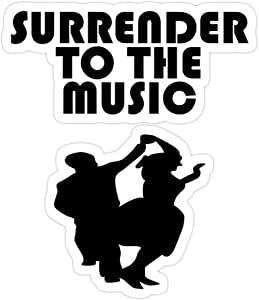 (3 PCs/Pack) Swing Dance Couple Silhouette Design Surrender to The Music 3x4 Inch Die-Cut Stickers Decals for Laptop Window Car Bumper Helmet Water Bottle