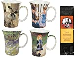 4 Impressionists Coffee or Tea Mugs in a Matching Gift Box and 6 Tea Bags, Bundle 2 Items