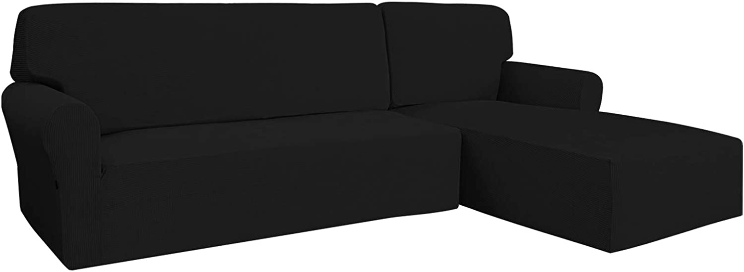 Easy-Going Stretch Sofa Slipcover 2 Pieces L-Shaped Sofa Cover Sectional Couch Cover for Living Room Jacquard Fabric Chaise Lounge Slipcover with Elastic Bottom for Dogs Kids Pets(X-Large,Black)