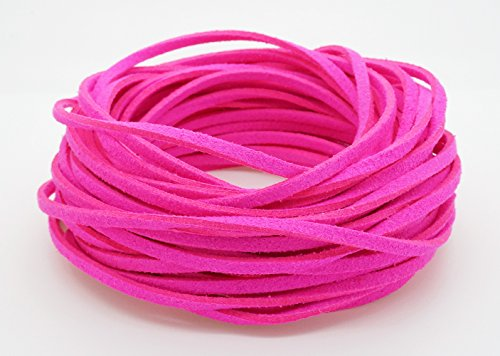 NEON PINK 3mm x 1.5mm Faux Suede Cord Leather Lace Bracelet Necklace Making (10yards Skein) (Suede Necklace Pink)