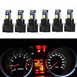 WLJH 6Pack White PC74 Twist Locket Socket T5 LED Wedge Bulb 37 74 3030SMD Dashboard Instrument Cluster Light,Plug and Play