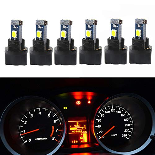 WLJH 6Pack White PC74 Twist Locket Socket Wedge T5 LED Bulb 37 74 2721 3030SMD Dashboard Instrument Cluster Dash Light Bulbs,Plug and Play (F53 Chassis)