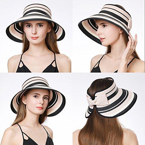 Straw Sun Visor Women Foldable Floppy Wide Brim Travel Hat Gardener Beach Hats Pink by Fancet (Image #5)