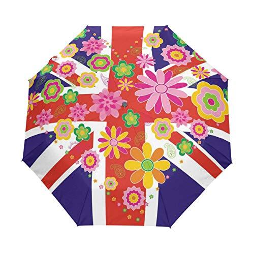 (KUWT UK Flag Union Jack Heart Flower Compact Travel Umbrella Anti-UV Protective Waterproof Umbrella Automatic Open)