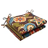 great very small patio design ideas Pillow Perfect Indoor/Outdoor Annie Westport Reversible Squared Seat Cushion, Chocolate, Set of 2
