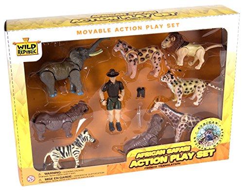- Wild Republic African Safari Eco Expedition, Elephant, Rhinoceros, Zebra, Leopard, Lion, Cheetah, Giraffe, Hippopotamus, Game Warden, Binoculars and Machete