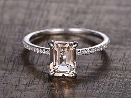 (6x8mm Emerald Cut Natural Pink Morganite Solitaire Engagement Ring Solid 14k White Gold Half Eternity Diamond Pave Think Wedding Band Claws Bridal Promise Rings Anniversary Gift Stacking)
