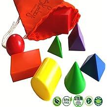 Mini Solid Geometric Shapes by Skoolzy - 3D Math Manipulatives Geometry Colors Montessori Mathematics