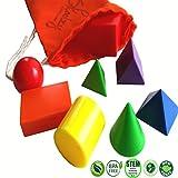 geometry d a - Skoolzy Geometric Shapes Preschool Learning Toys - Mini Geometric Solids Math Manipulatives | 3D Montessori Materials Geometry Set Homeschool Supplies