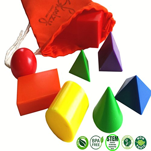 Mini Solid Geometric Shapes by Skoolzy - 3D Math Manipulatives Geometry Colors Montessori - Shapes Face Triangular