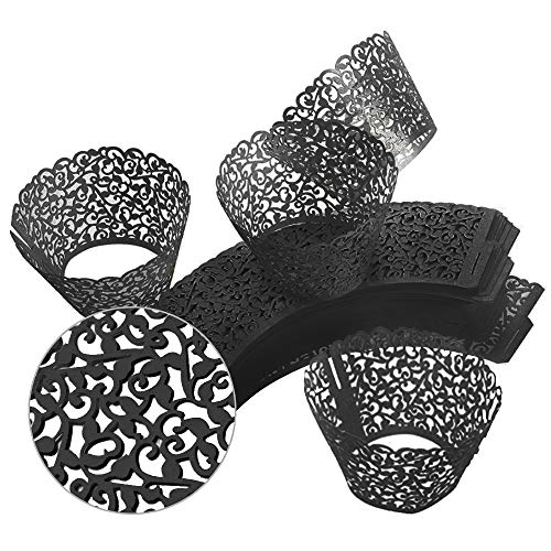 GOLF 100Pcs Cupcake Wrappers | Artistic Bake Cake Paper Filigree Little Vine Lace Laser Cut Liner Baking Cup Wraps Muffin CaseTrays for Wedding Party Birthday Decoration (Black) by GOLF (Image #3)