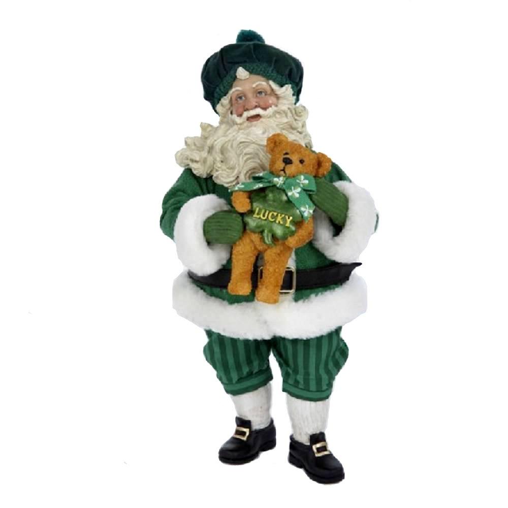 Kurt Adler 9-Inch Fabriche Irish Santa Holding Teddy Bear