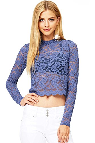 Long Sleeve Sheer Jeans (Ambiance Women's Juniors Cropped Lace Long Sleeve Top (M, Denim Blue))