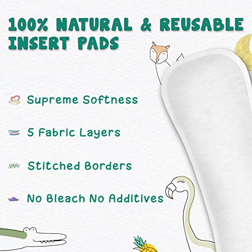 Paw Paw Diaper Inserts Reusable Baby Washable Cloth Diaper Nappies with Wet-Free Inserts for Babies/Infants/Toddlers (Standard, Cloth Diaper Insert Pad) (Pack of 5, White)