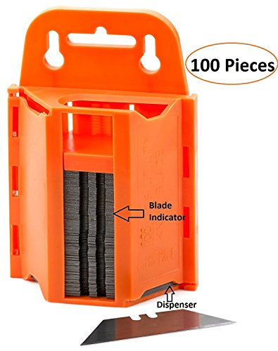 100-Pack Utility Knife Blades With Dispenser- Sharp Utility Knife Blades - With Dispenser For Safe Storage And Easy Disposal- By Katzco