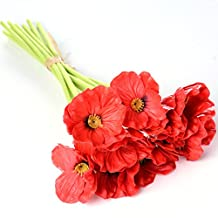 WELMAY 12.9'' Mini PU Poppy 10 Head Wedding Bridal Bouquets Real Touch Latex Artificial Flowers (Red)