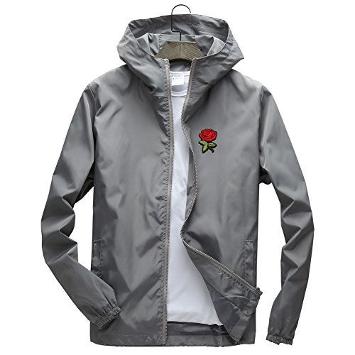 DAIKEN Rose Floral Jacket Windbreaker for Men Women Waterproof Windproof College Jackets by DAIKEN