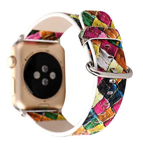 TCSHOW For Apple Watch Band 38mm,38mm Soft PU Leather Pastoral/Rural Style Replacement Strap Wrist Band with Silver Metal Adapter for Apple Watch Series 3 Series 2 and Series 1 (Y)