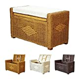 Bruno Handmade 32 Inch Rattan Wicker Chest Storage Trunk Organizer Ottoman W/cushion Colonial (Light Brown)