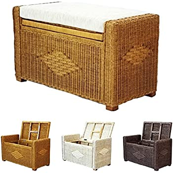 Merveilleux Bruno Handmade 32 Inch Rattan Wicker Chest Storage Trunk Organizer Ottoman  W/cushion Colonial (