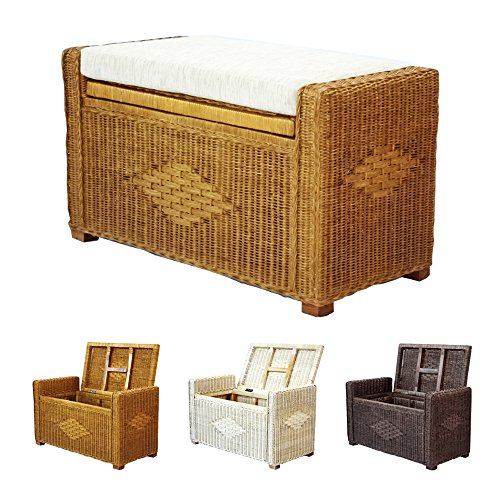 Rattan Wicker Furniture Bruno Handmade 32 Inch Chest Storage Trunk Organizer Ottoman With Cushion Colonial, Light Brown