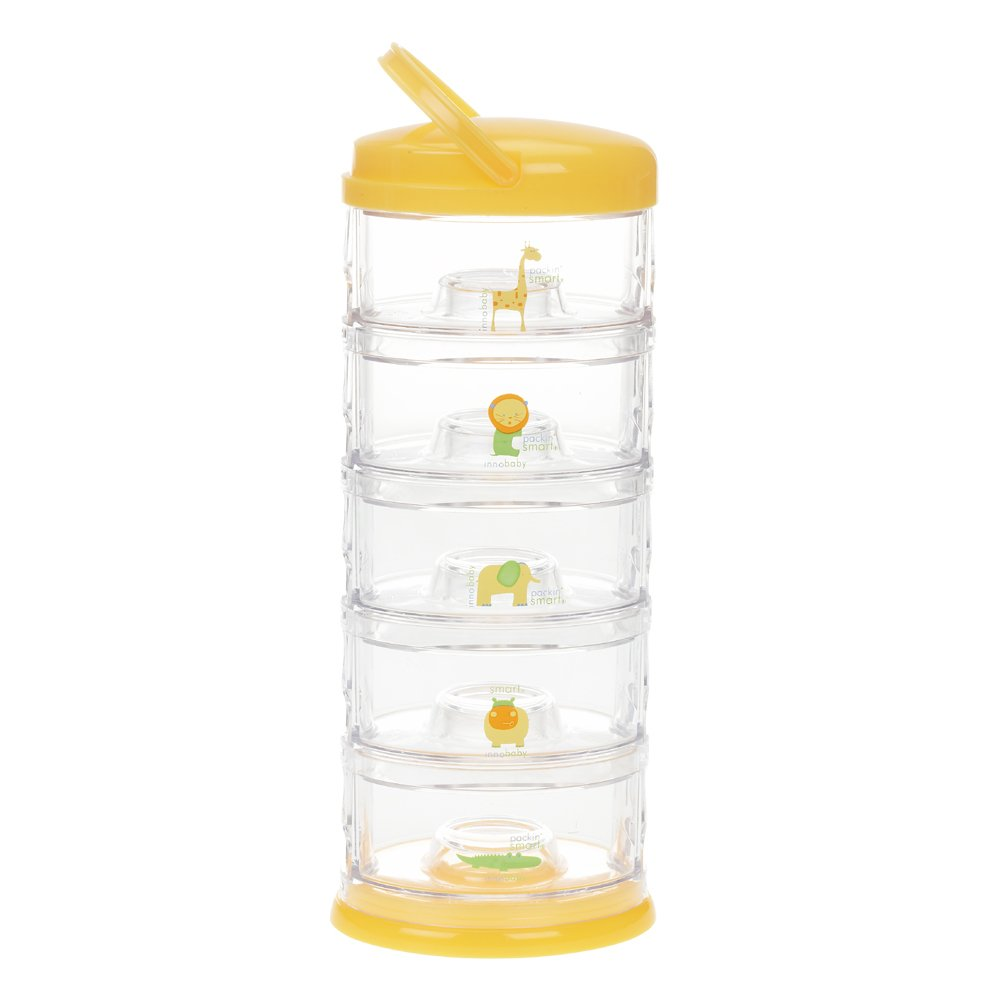 Innobaby Packin' Smart Stackable and Portable Storage System for Formula, Baby Snacks and more. 5 Stackable Cups in Mango Sorbet. BPA Free.