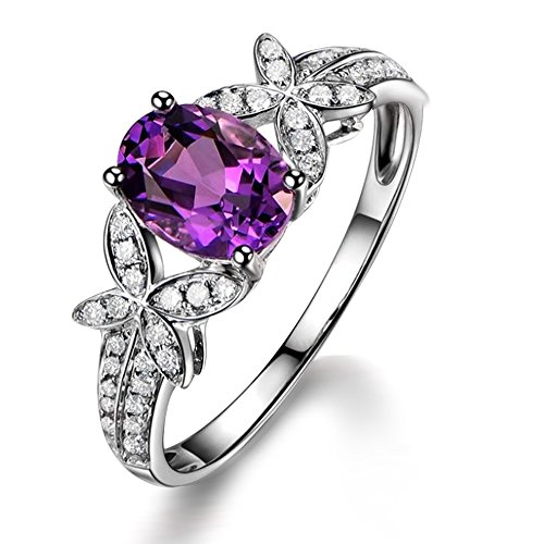 - Unique Fashion 1.5ct Brazilian Amethyst Gemstone Real Diamond 14K White Gold Engagement Wedding Promise Ring for Women