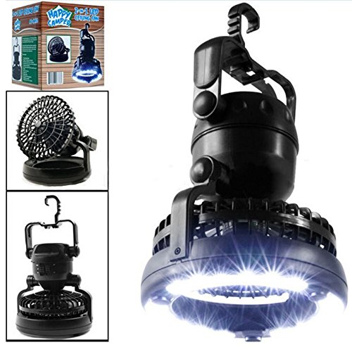 1 Pc Magnificent Fashionable 2-in-1 18LED Lantern Night Light Weather Resistant Lamp Bivouac Fishing Pocket Energy Saving Hiking Tent Color Black with Ceiling Fan - Vinta Festival Costumes