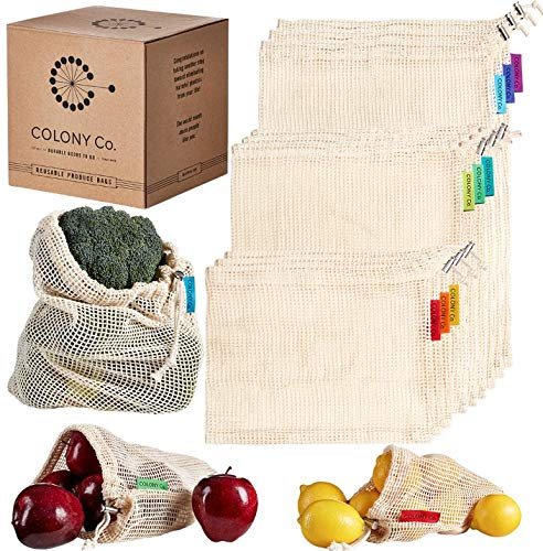 (Colony Co. Reusable Produce Bags, Natural Cotton Mesh is Biodegradable, Recyclable Packaging, Machine Washable, Durable, Double-Stitched Seams, Tare Weight on Label, Set of 9, Small-Medium-Large)