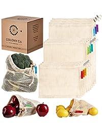 Bolsas reutilizables para productos | Malla de algodón natural biodegradable | Lavable a máquina y apto para secadora | Peso de tara en etiqueta | Costuras dobles, Natural, Small-Medium-Large, 1