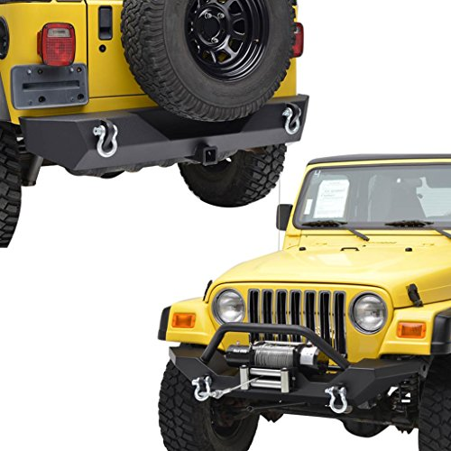 (E-Autogrilles 97-06 Jeep Wrangler TJ Textured Black Off Road Front Bumper and Rear Bumper with D-rings & 2