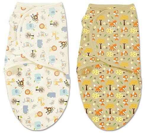 Summer Infant SwaddleMe Adjustable Infant Wrap 2 Count, Jungle Pink - Small