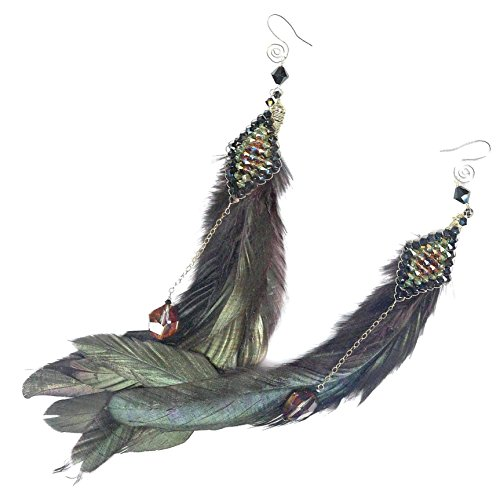 - Extra Long Coque Feather Statement Earrings Swarovski Bead Weaving Brown Black