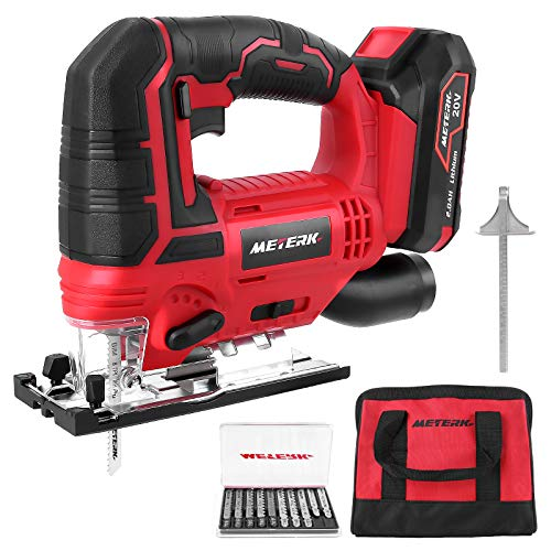 Meterk Jigsaw, 20V Cordless Jig Saw for Woodworking with LED, 4 Orbital, Variable Speed,±45°Bevel Angle,10PCS Blades,Scale Ruler,Tool-free Blade Changing,Battery & Carrying Bag & Fast Charger Included