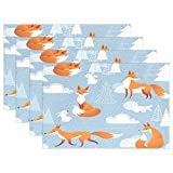 Merry Christmas Fox Snow Coniferous Rabbit Woods Place Mat Table Mat for Kitchen Dining Room Heat Insulation Anti-skid Home Decor by MOCK ST Place Mat 12 x 18 inches Set of 4