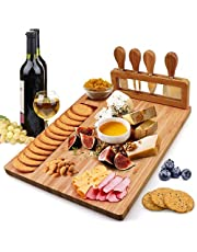 Bamboo Cheese Board Set Charcuterie Board Platter Serving Meat Board Including 4 Stainless Steel Knife and Serving Utensils for Christmas Wedding Birthday Anniversary