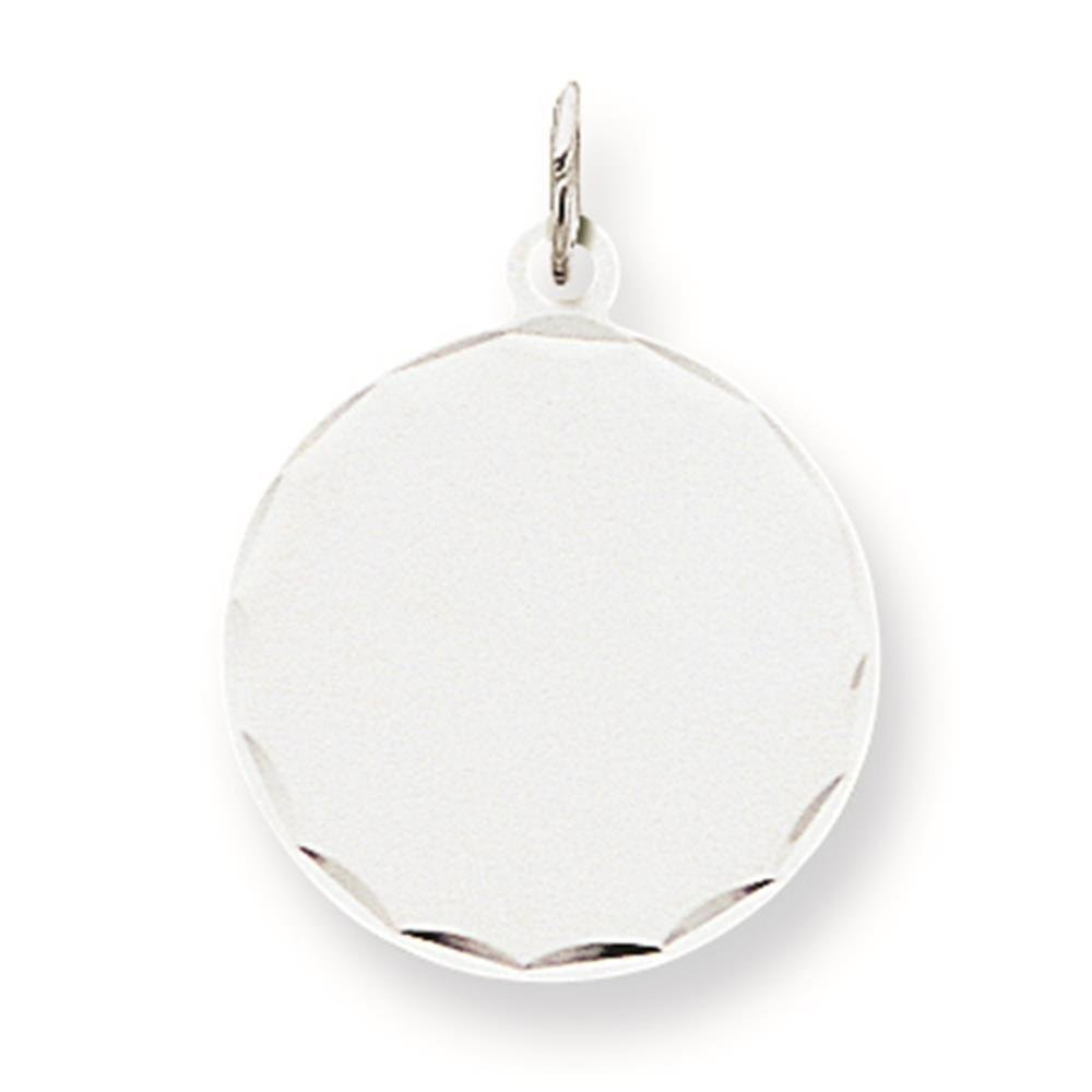 925 Sterling Silver Polished /& Diamond-cut .018 Gauge Round Engravable Disc Charm Pendant 22mm x 19mm