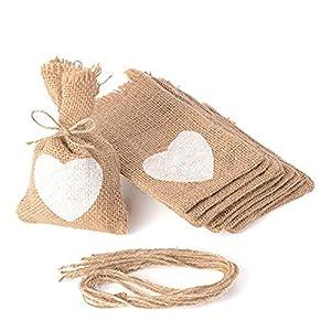 Advantez 10-Pack Natural Jute Burlap Sacks Favor Bags Candy Gift Bags Rustic Wedding Bridal Shower 3