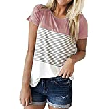 JFLYOU Women T-Shirt,Fashion Short Sleeve Triple Color Block Stripe Casual Blouse Tunic Tee(Pink1,S)