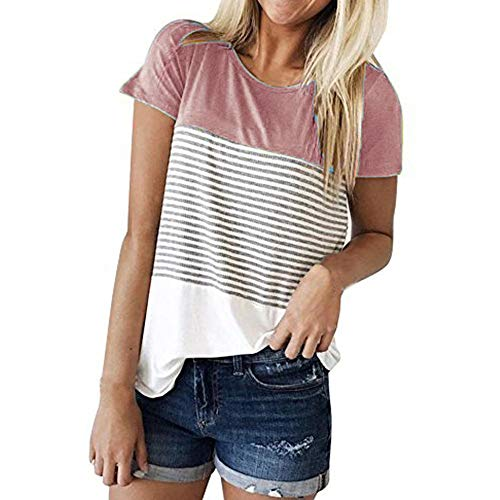 JFLYOU Women T-Shirt,Fashion Short Sleeve Triple Color Block Stripe Casual Blouse Tunic Tee(Pink1,S) by JFLYOU-Blouse (Image #5)