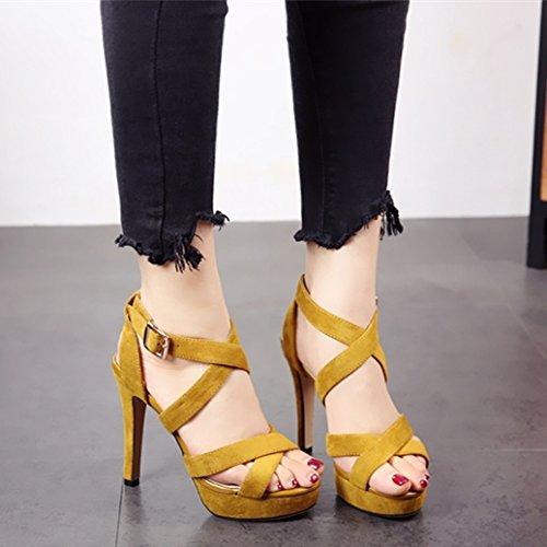 black europeo tacco alto estate fessura tacco scarpe sandali alta nero In stile moda YMFIE e punta scavata partito 36 col alta UE Eq80Pw1