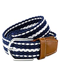 Scott Allan Men's Braided Stretch Cord Dress Belt - Navy Blue/White, Size 38