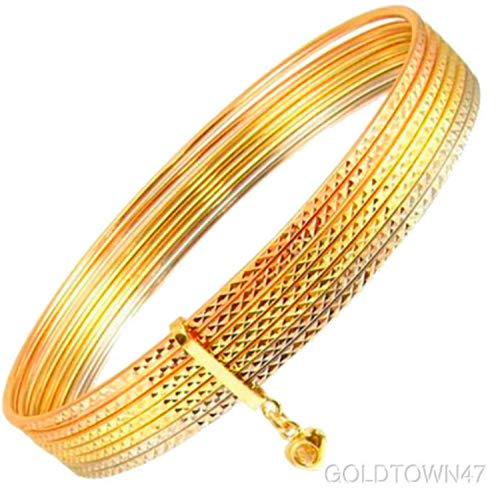 (14k Tricolor Gold Lady Women Tubes 7 Day Semanario Bunched Bangle Sparkly Cuts (8))