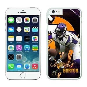 Minnesota Vikings Stephen Burton iPhone 6 Plus NFL Cases White 5.5 Inches NIC14393