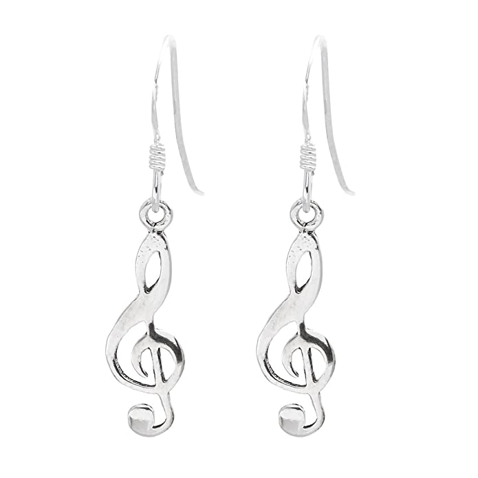 Silverly Womens .925 Sterling Silver Treble Clef Musical Note Stud Earrings